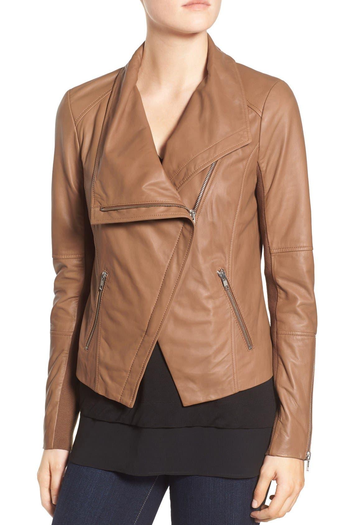 Alternate Image 4  - Trouvé Drape Front Leather Jacket