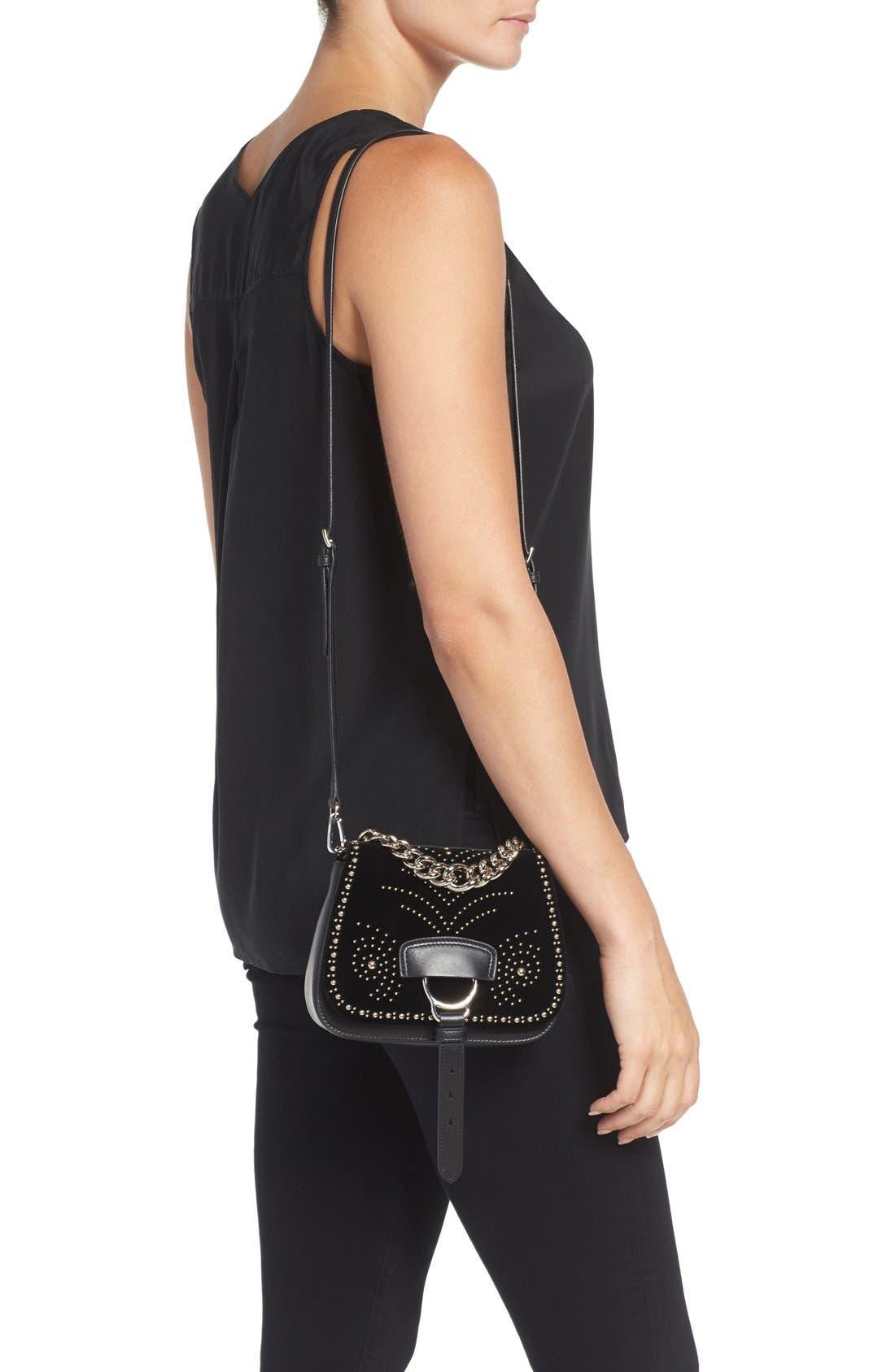 Alternate Image 3  - Miu Miu 'Small Dahlia' Velvet & Calfskin Leather Saddle Bag