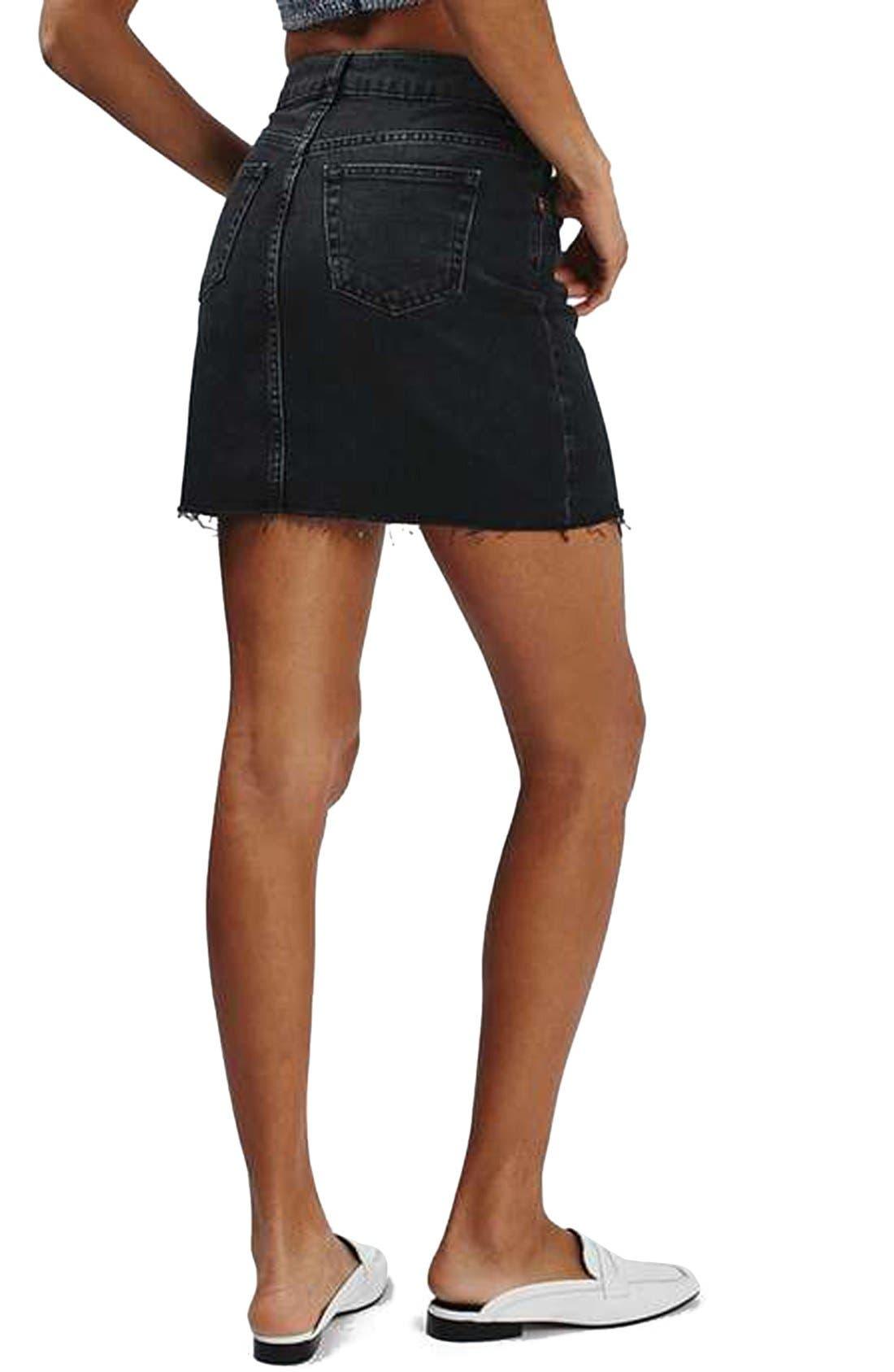 Alternate Image 3  - Topshop Moto High Rise Raw Hem Denim Skirt