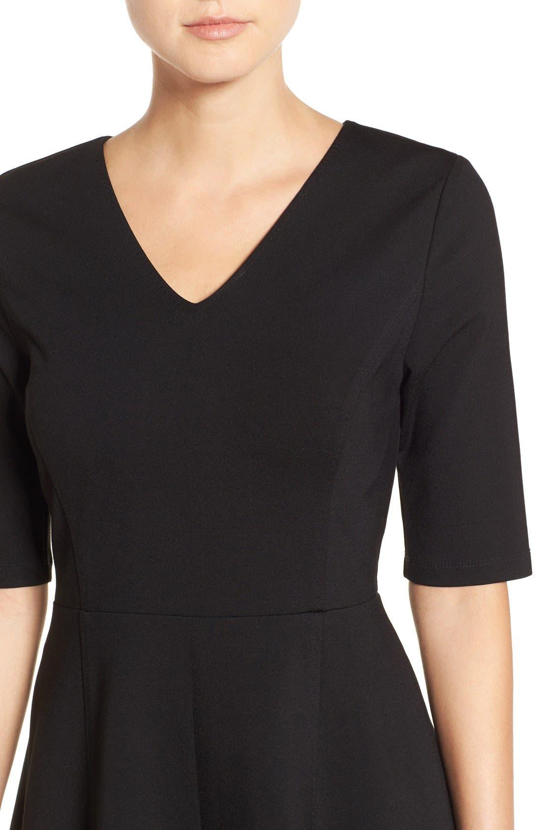 Alternate Image 4  - Halogen® Ponte Fit & Flare Dress (Regular & Petite)