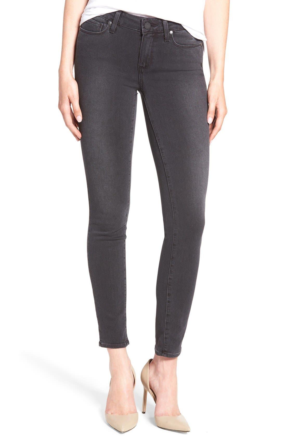 PAIGE 'Transcend - Verdugo' Ankle Skinny Jeans (Smoke Grey)