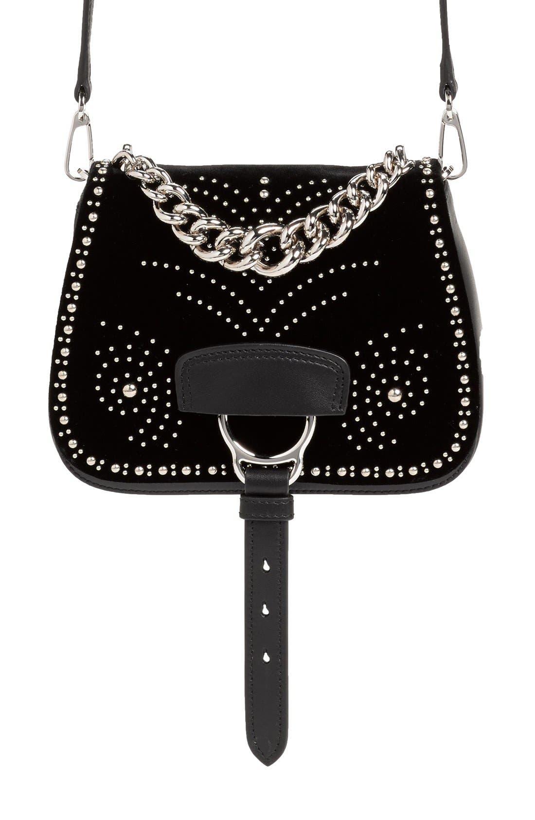 Main Image - Miu Miu 'Small Dahlia' Velvet & Calfskin Leather Saddle Bag