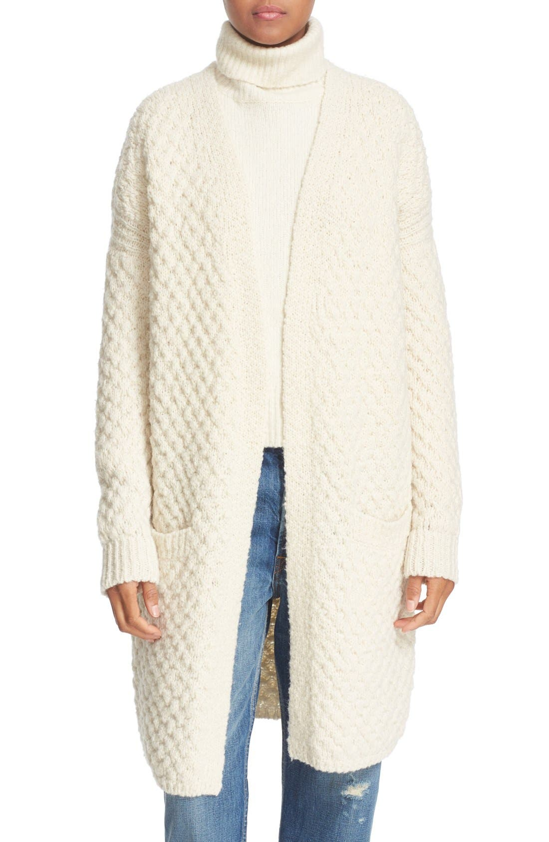 Alternate Image 1 Selected - Vince Honeycomb Wool Blend Long Cardigan