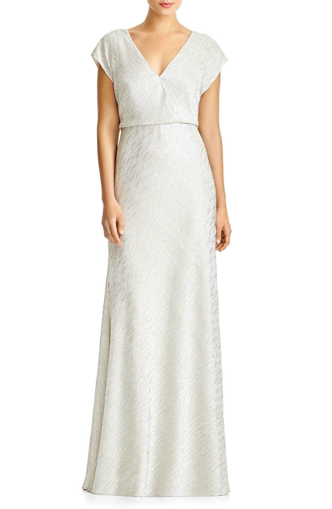 JY JENNY YOO 'Soho' Metallic Blouson V-Neck Gown