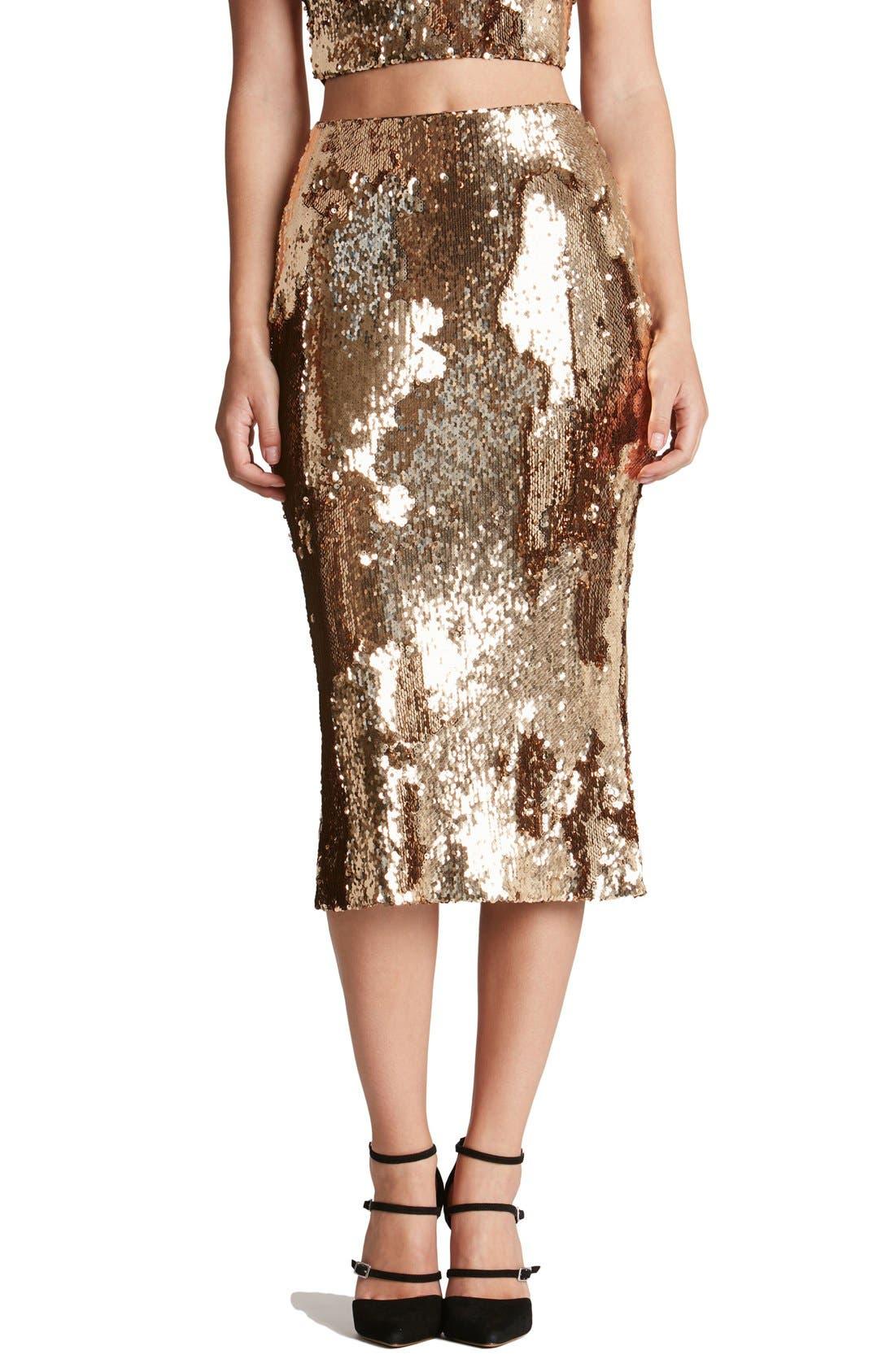 Main Image - Dress the Population 'Sasha' Sequin Midi Skirt