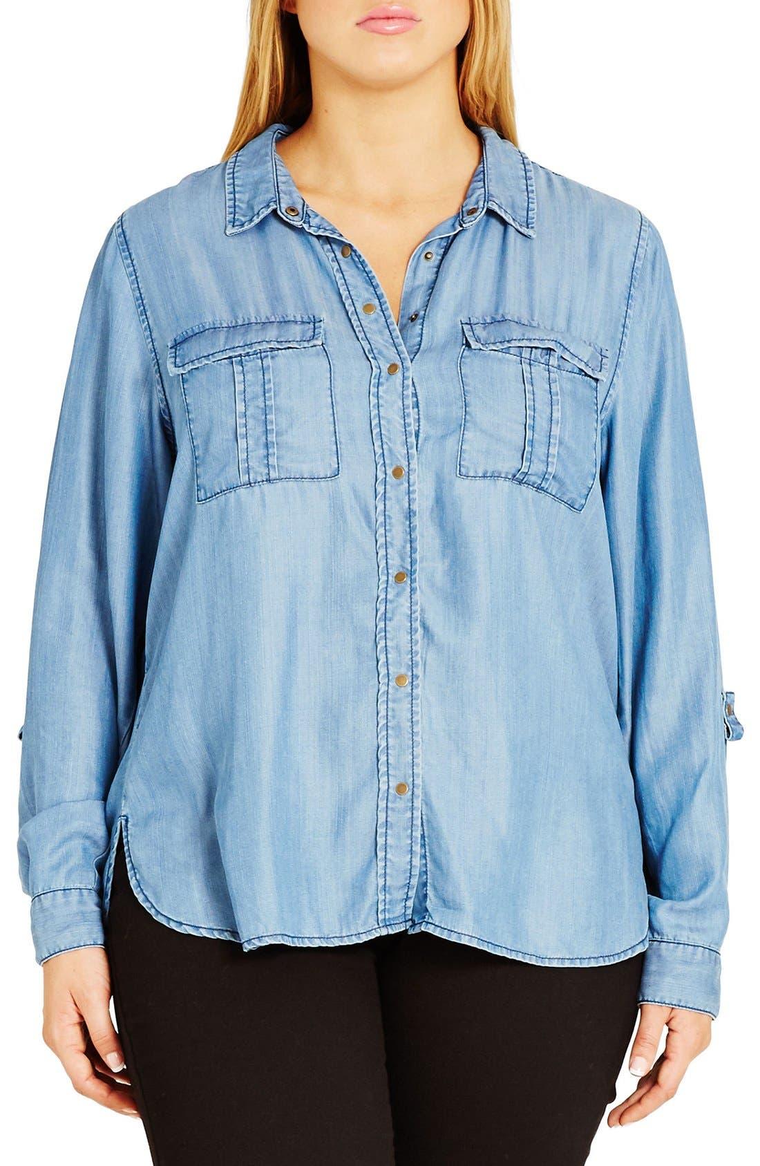 City Chic 'Miss Military' Denim Shirt (Plus Size)
