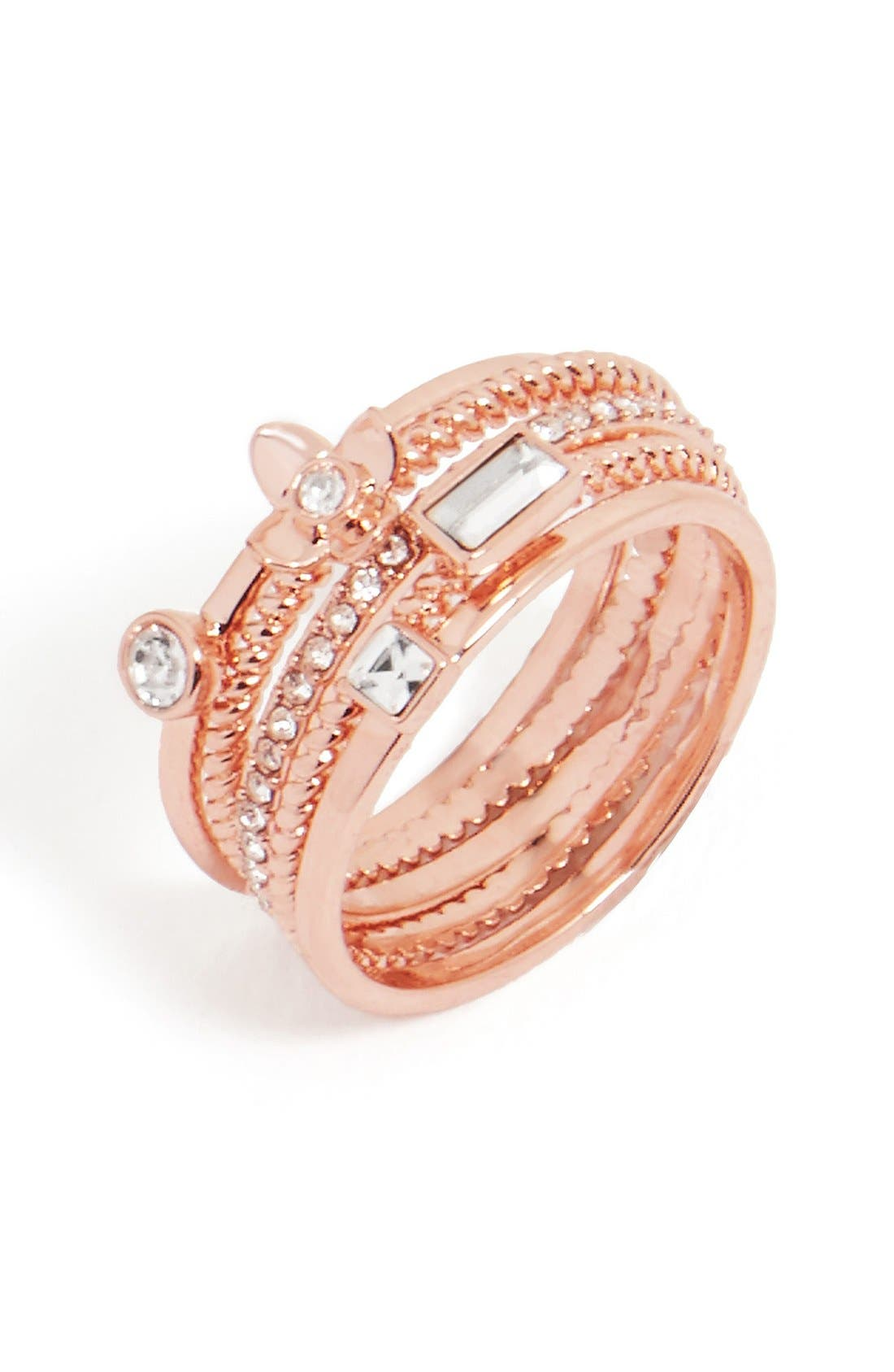 Main Image - BaubleBar 'Rosalba' Crystal Rings (Set of 5)