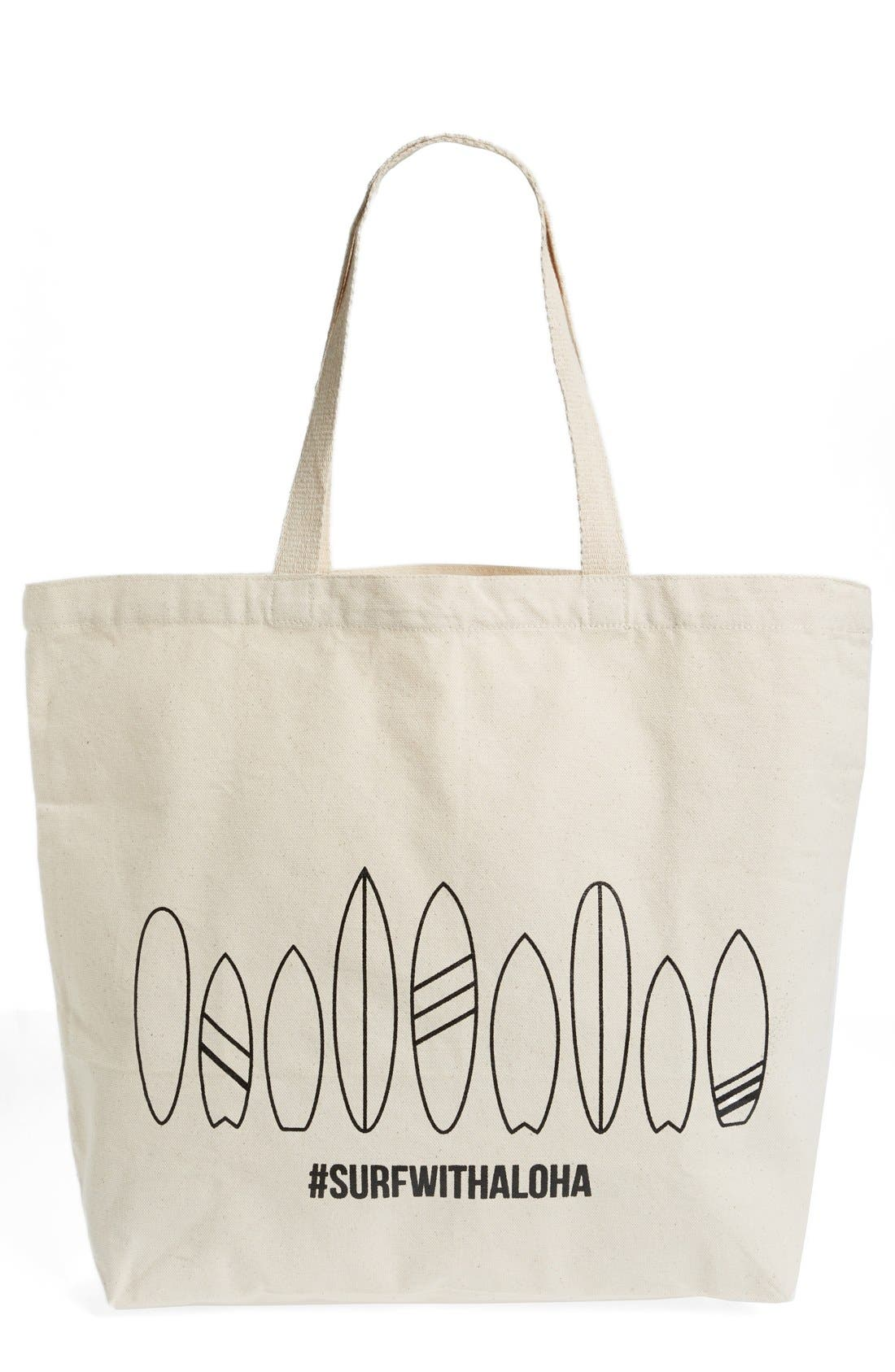 Main Image - WORKSHOP 28 'Surf with Aloha' Canvas Tote