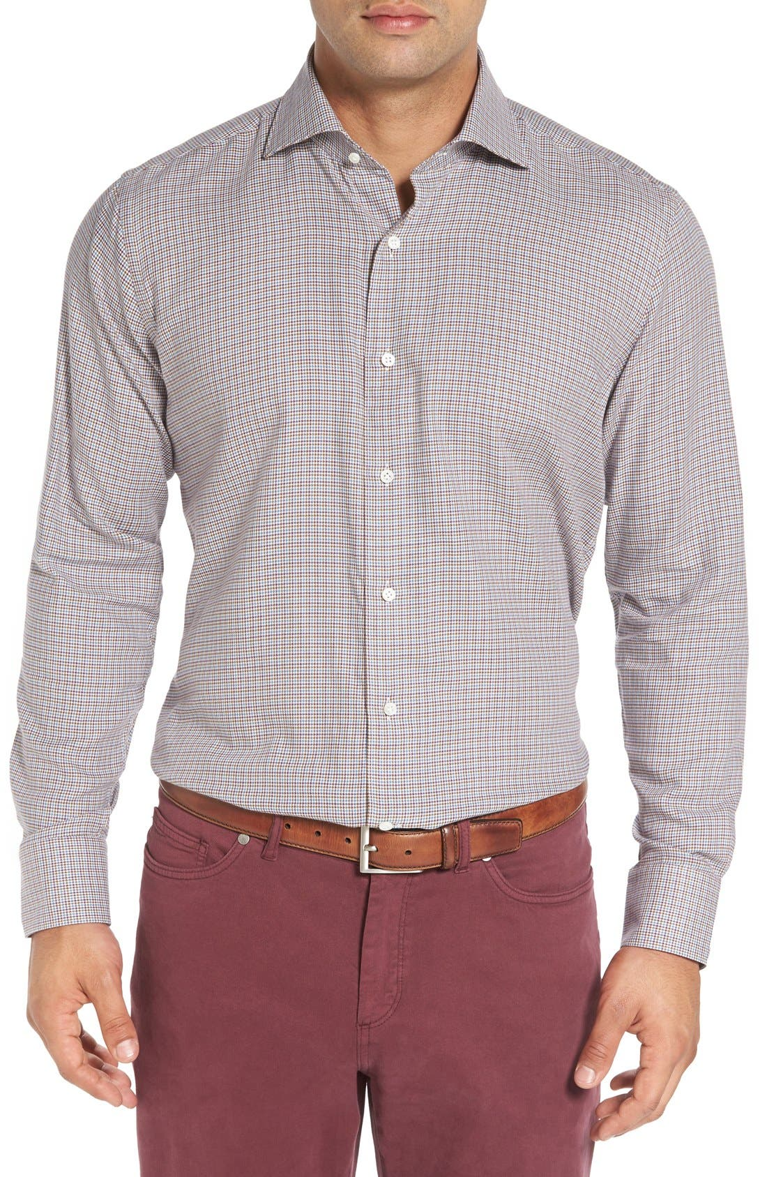 PETER MILLAR Regular Fit Houndstooth Sport Shirt