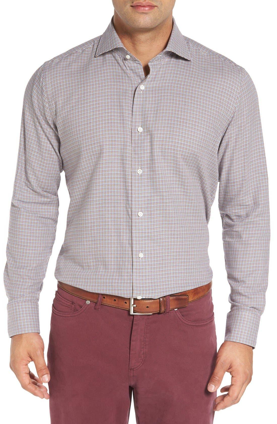 Peter Millar Regular Fit Houndstooth Sport Shirt