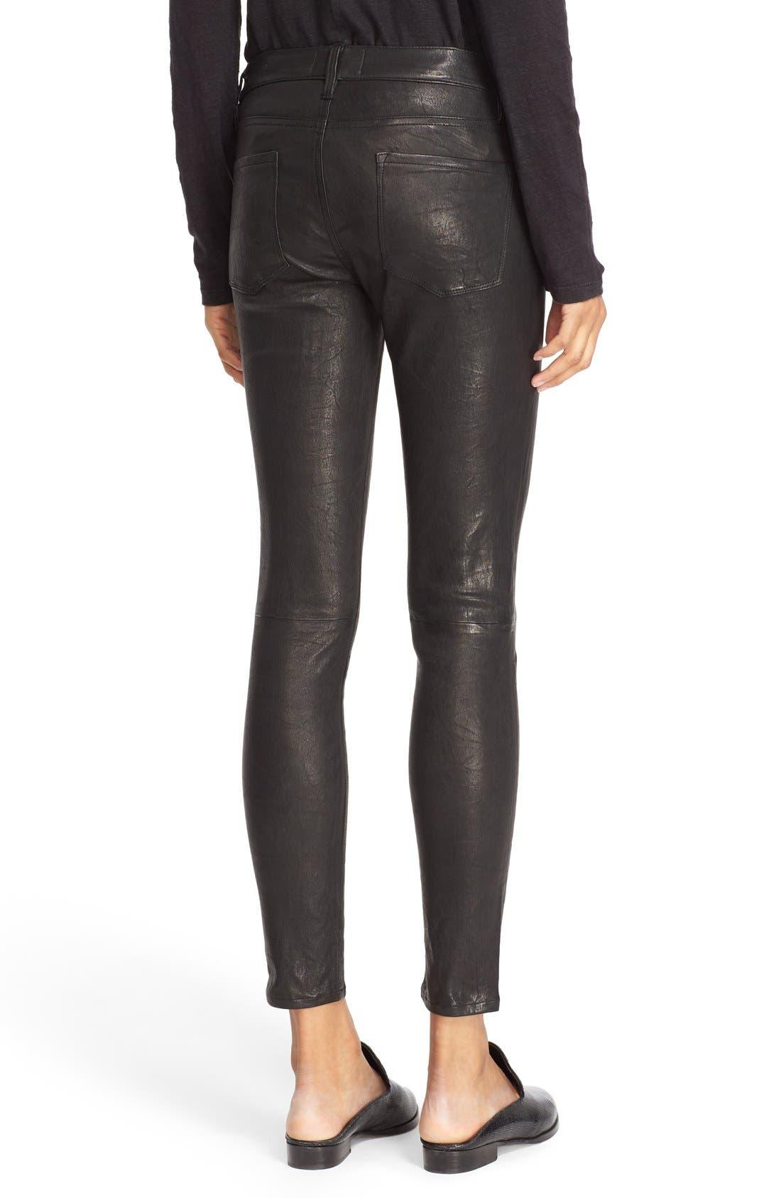Alternate Image 2  - FRAME 'Le Skinny' Lambskin Leather Pants