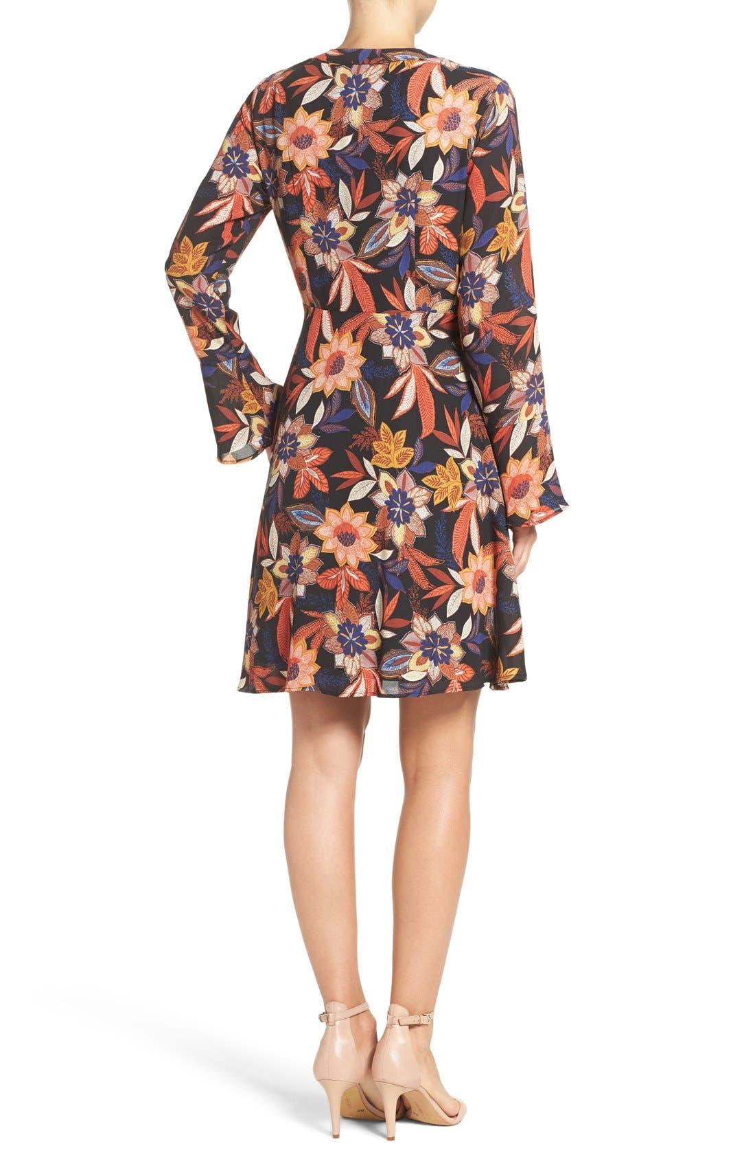 Alternate Image 2  - ECI Floral Print Tie Neck Shift Dress