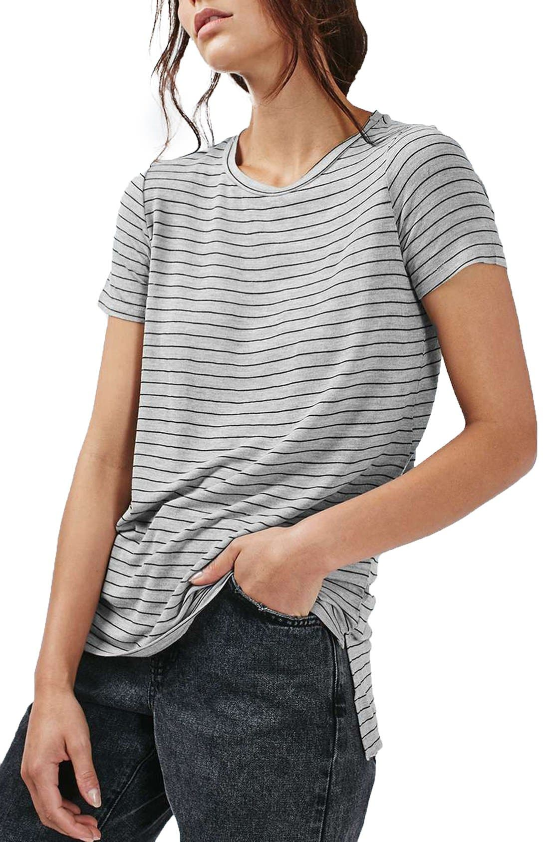 Main Image - Topshop Side Split Stripe Tee