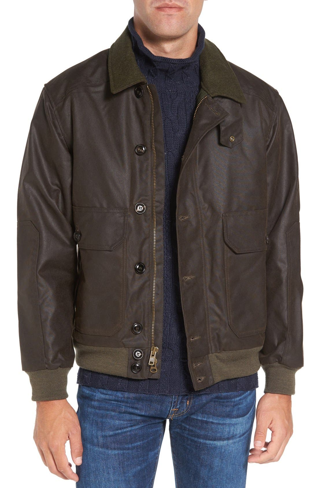 FILSON 'Ranger' Water Repellent Shelter Cloth Bomber Jacket