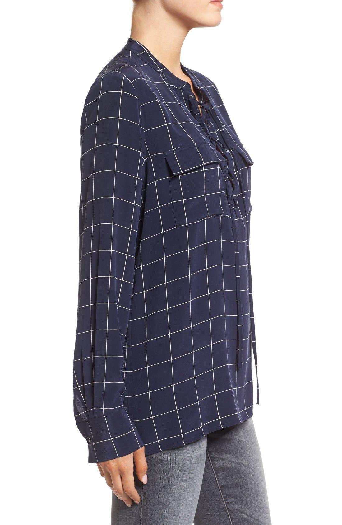Alternate Image 3  - Madewell 'Monroe' Plaid Lace-Up Silk Blouse