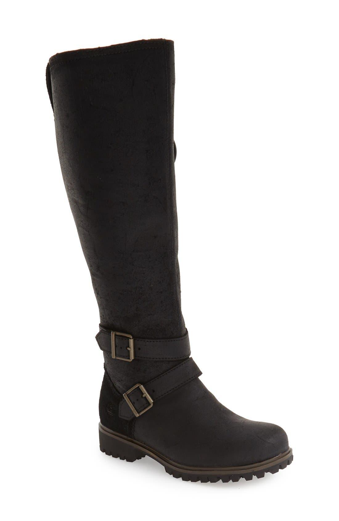 Timberland 'Wheelwright' Waterproof Moto Boot (Women) (Wide Calf)