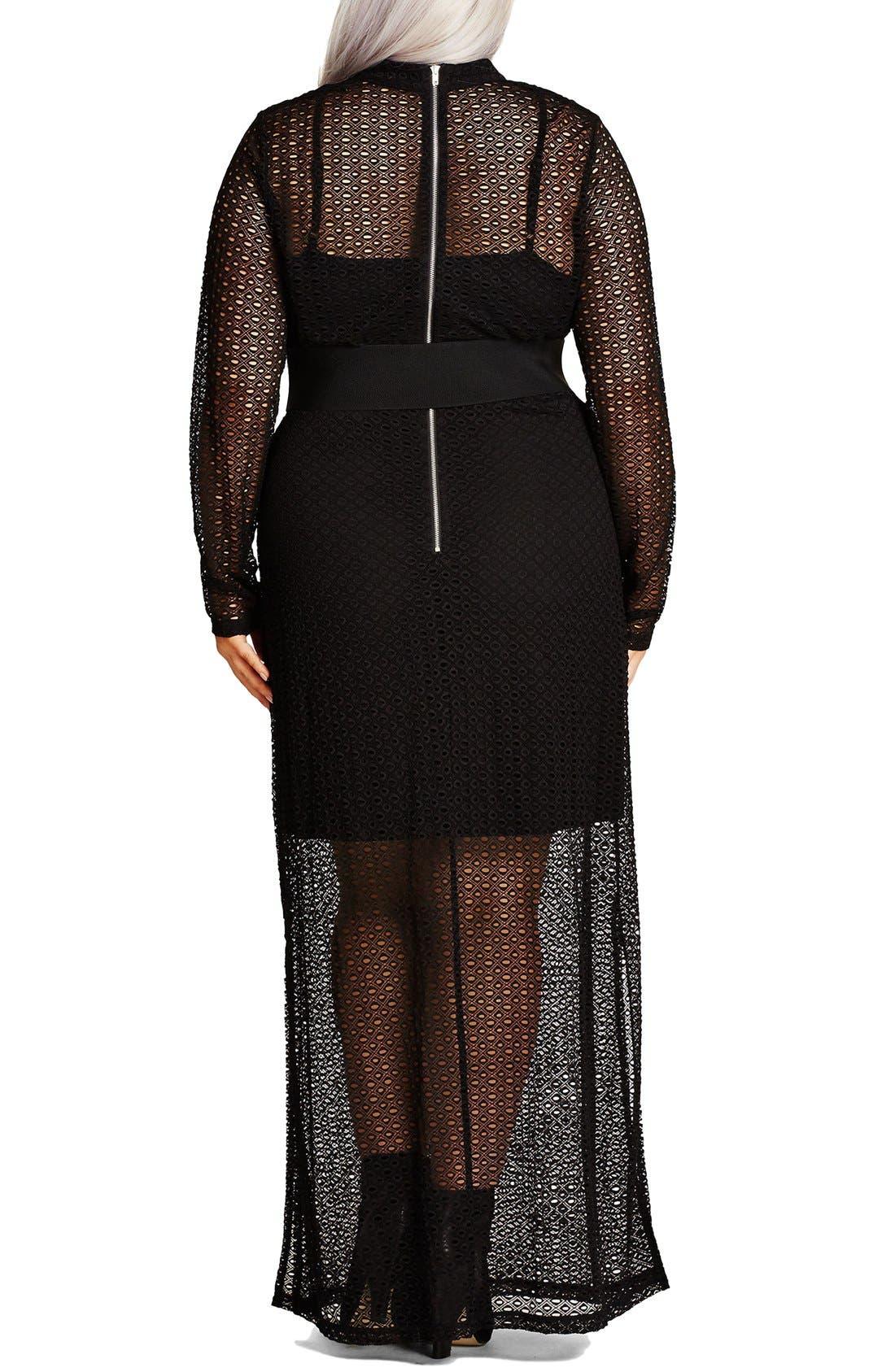 Alternate Image 2  - City Chic Geo Lace Maxi Dress (Plus Size)