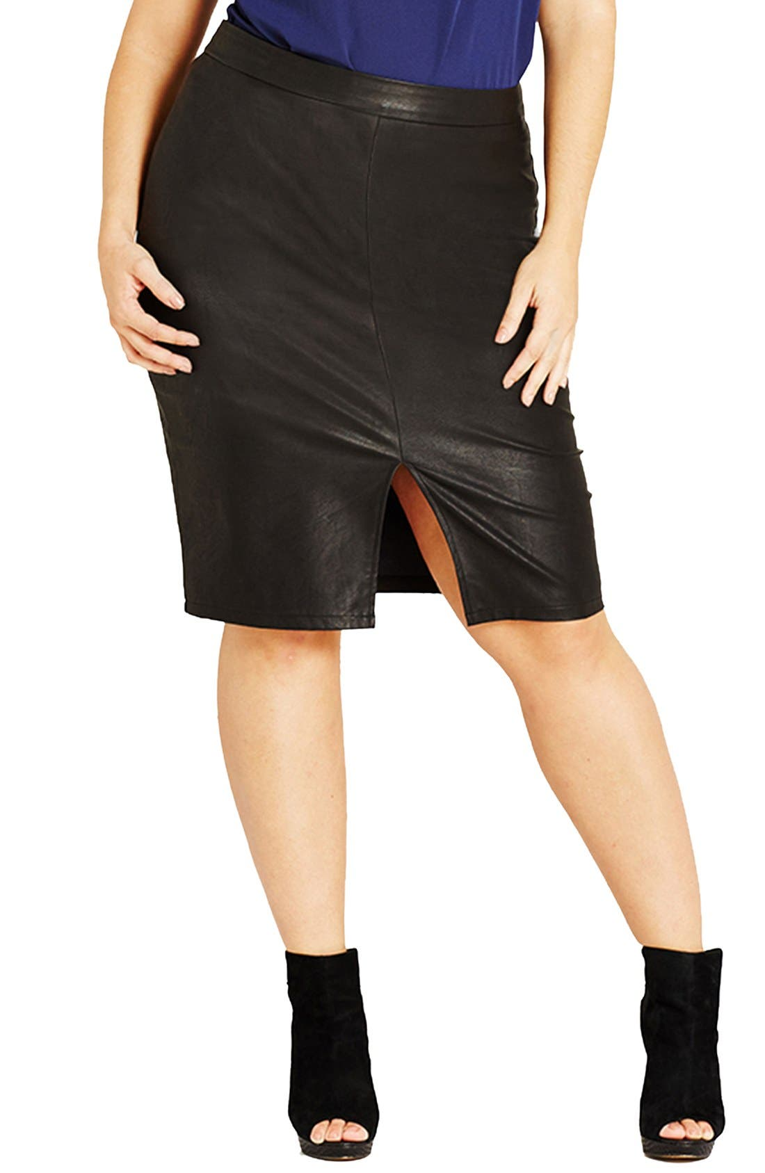 CITY CHIC Front Slit Faux Leather Pencil Skirt