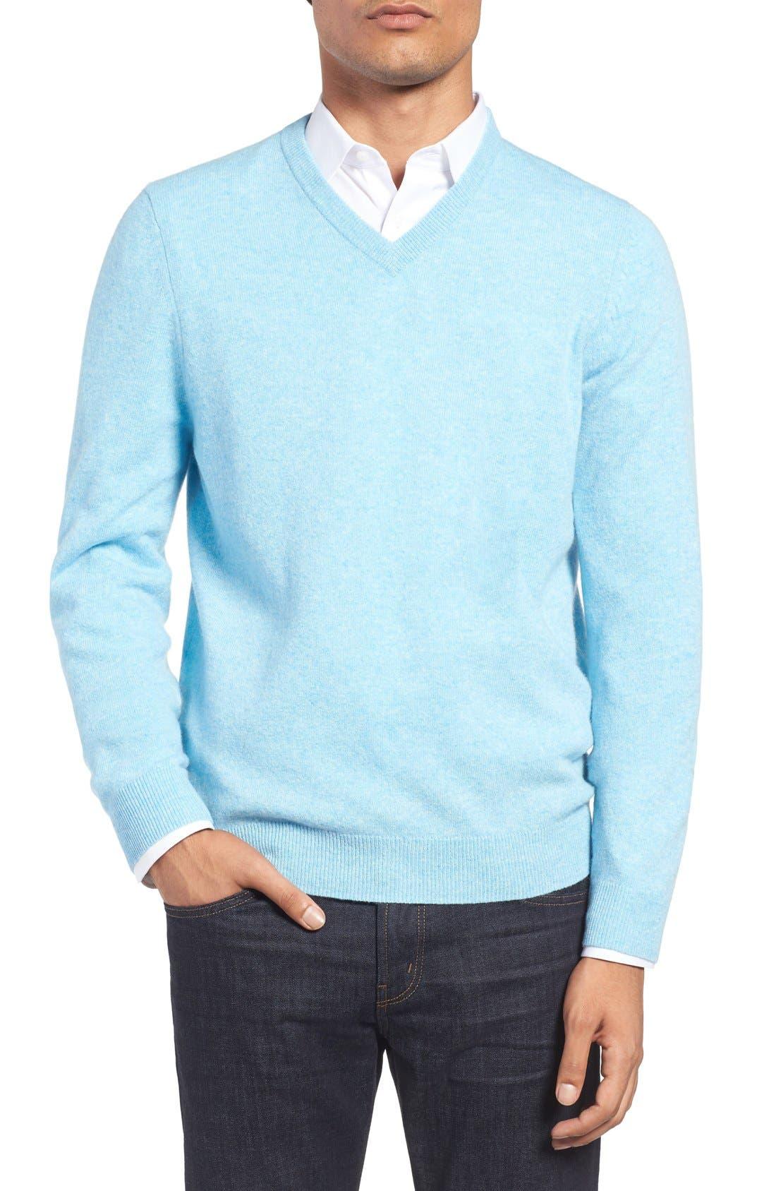 Alternate Image 1 Selected - Nordstrom Men's Shop Cashmere V-Neck Sweater (Regular & Tall)