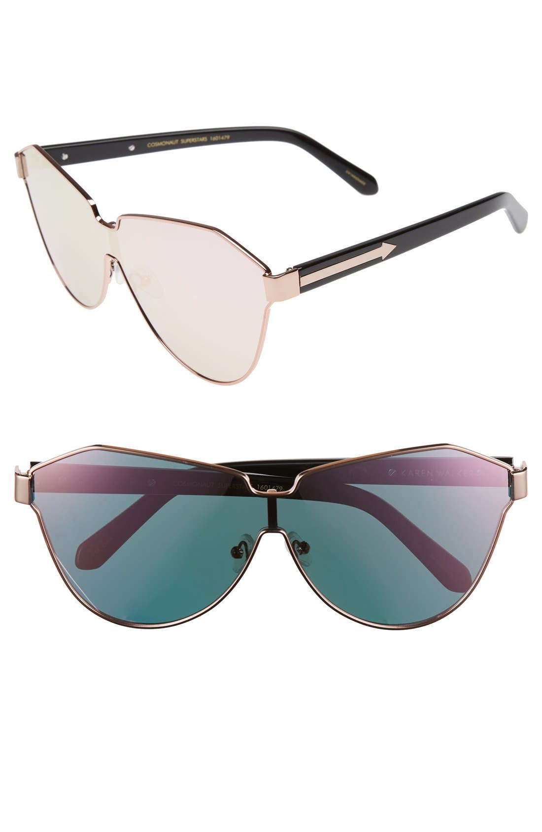 KAREN WALKER 'Cosmonaut - Superstars' Mirrored Lens Sunglasses