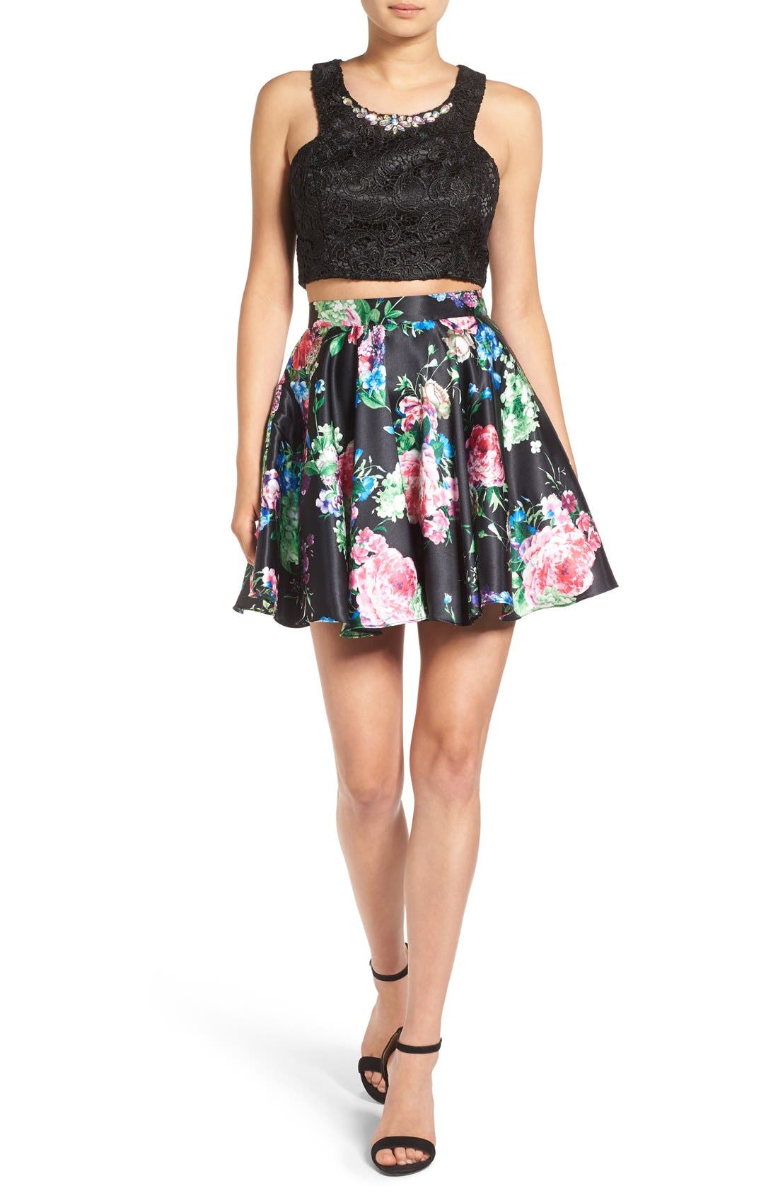 Alternate Image 1 Selected - Steppin Out Lace & Floral Two-Piece Dress