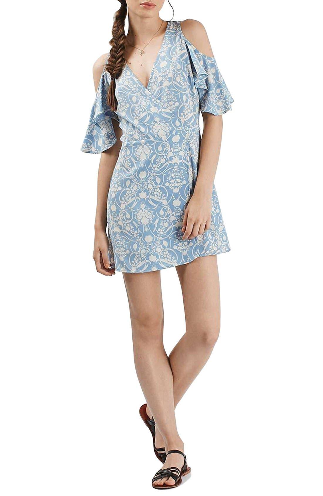 Alternate Image 1 Selected - Topshop Floral Print Cold Shoulder Wrap Dress