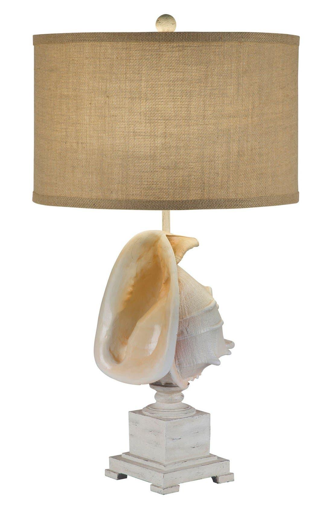 JAlexander Whitewash Shell Table Lamp