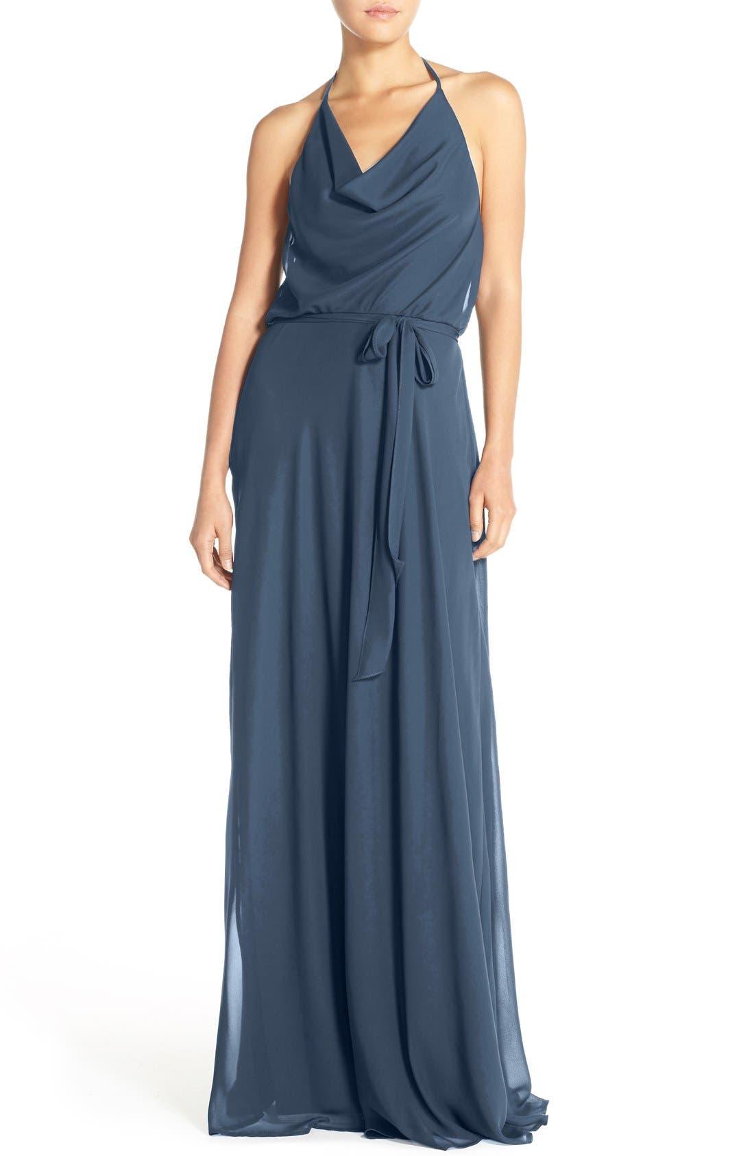 Main Image - nouvelle AMSALE 'Alyssa' Cowl Neck Chiffon Halter Gown