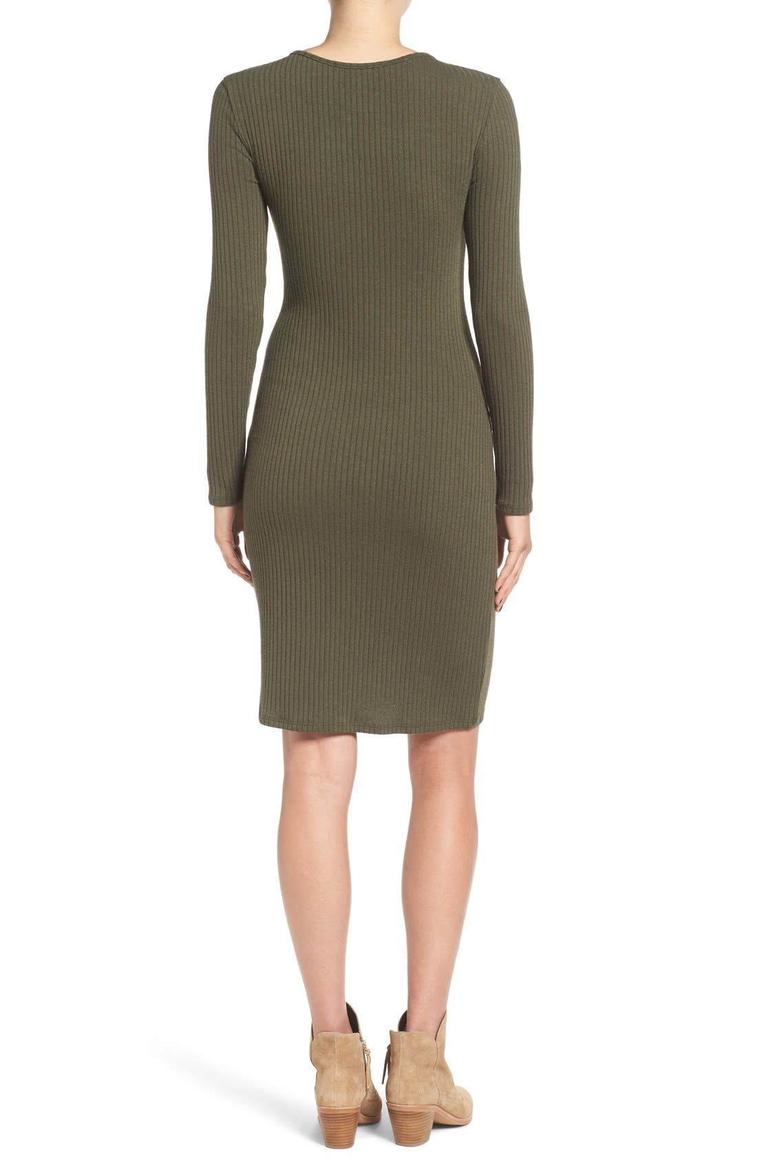 Alternate Image 3  - One Clothing Lace-Up Neck Ribbed Body-Con Dress