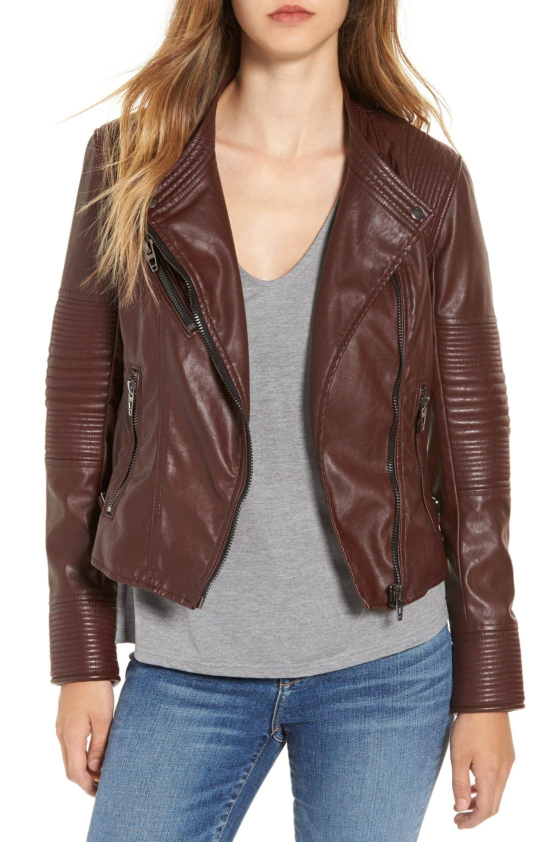 Alternate Image 1 Selected - BLANKNYC Quilted Faux Leather Moto Jacket