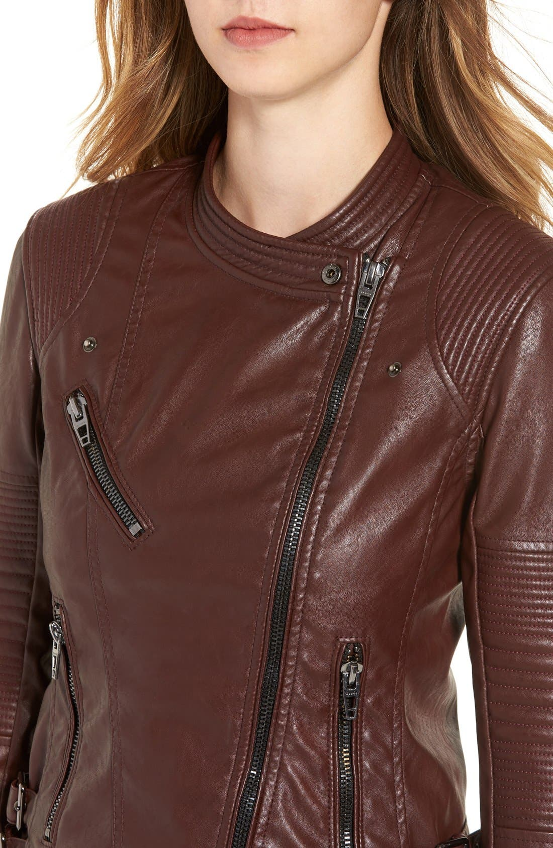 Alternate Image 4  - BLANKNYC Quilted Faux Leather Moto Jacket