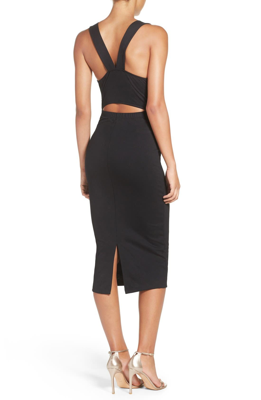 Alternate Image 2  - Fraiche by J Cutout Body-Con Midi Dress