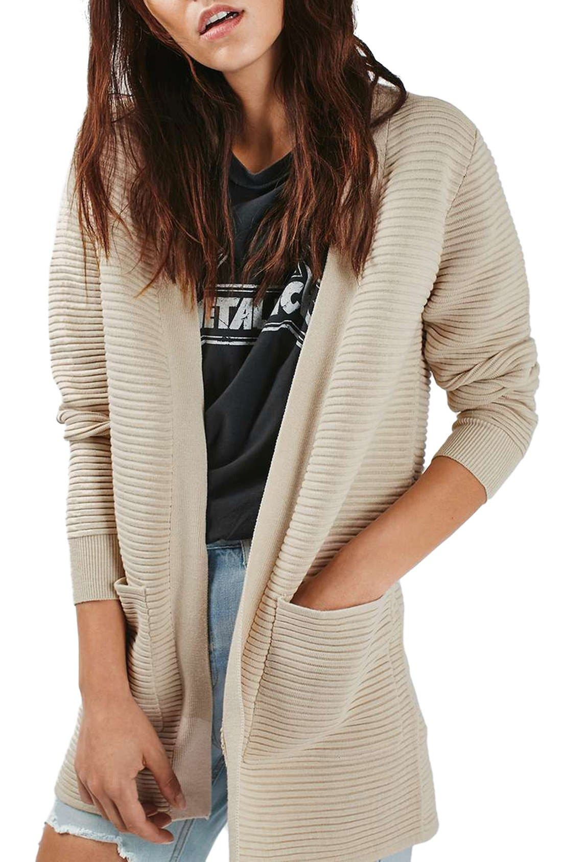 Alternate Image 1 Selected - Topshop Ottoman Ribbed Open Cardigan
