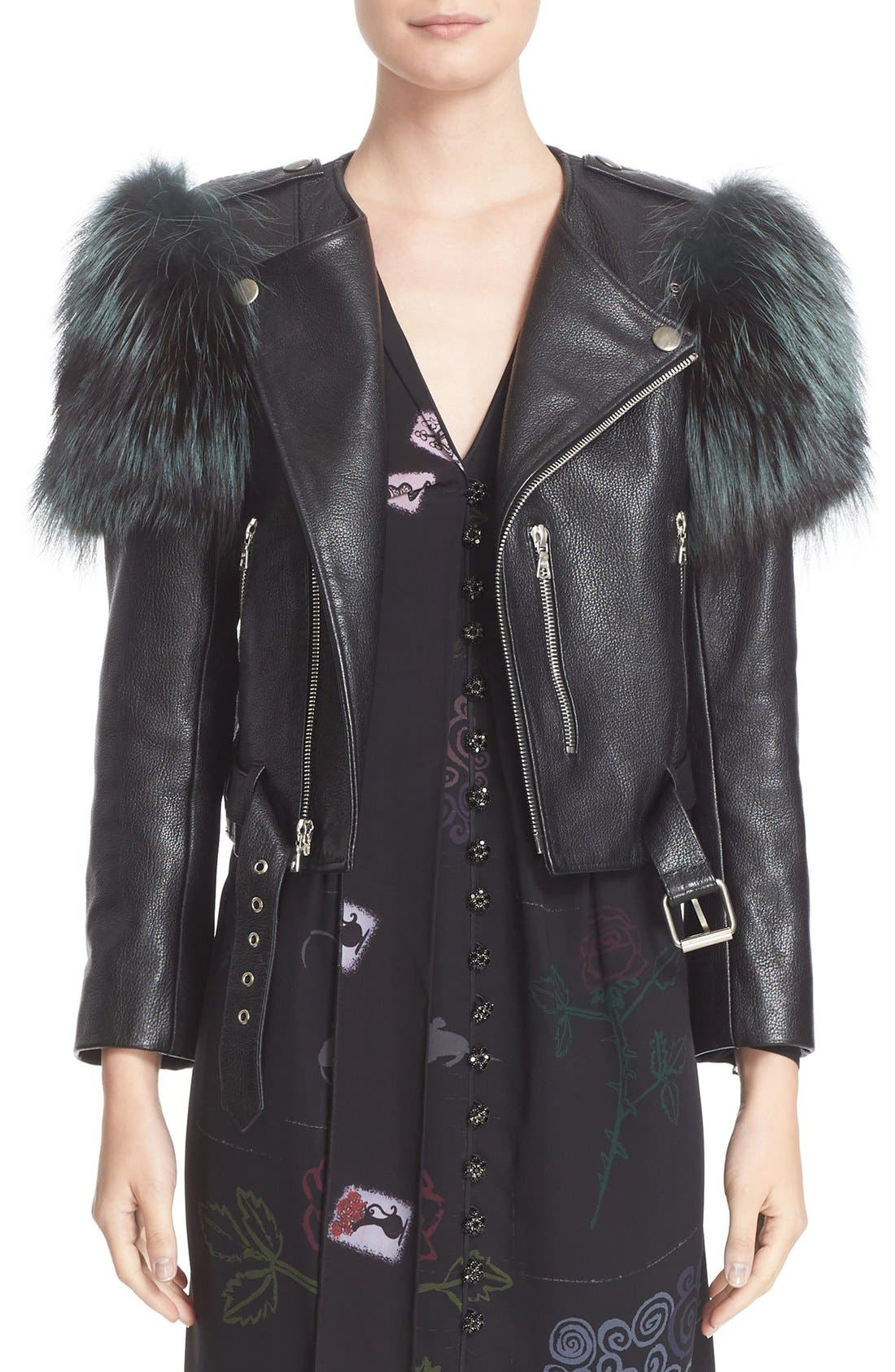 Alternate Image 1  - MARC JACOBS Leather Moto Jacket with Genuine Fox Fur Trim