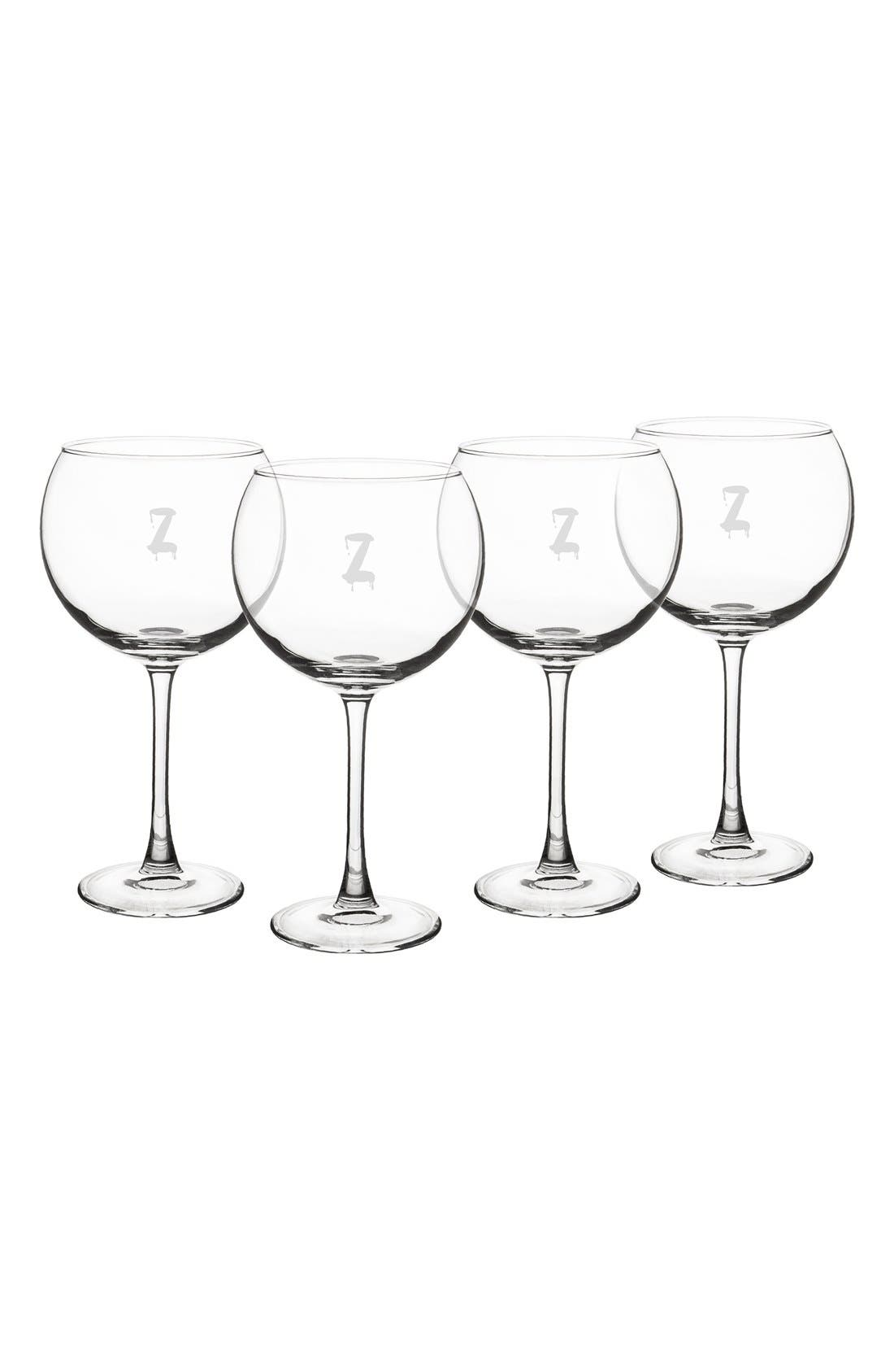 Cathy's Concepts Spooky Monogram Set of 4 Red Wine Glasses