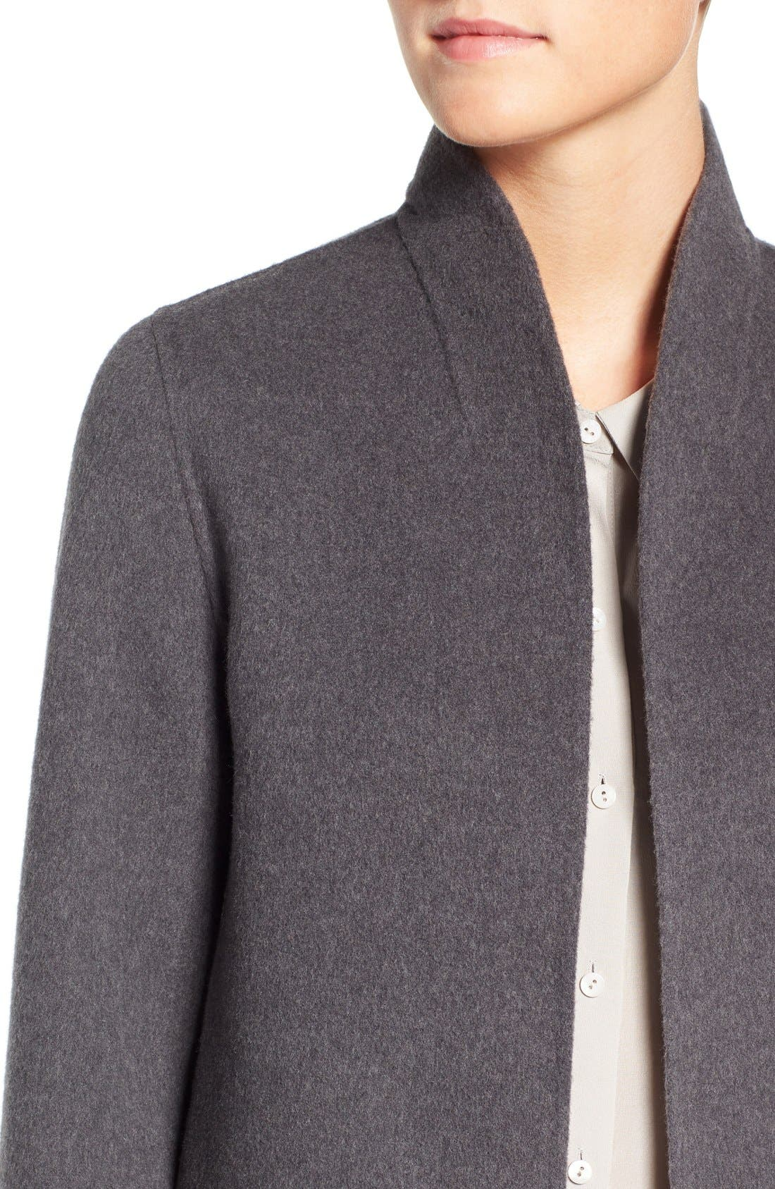 Alternate Image 4  - Eileen Fisher Brushed Wool Blend Double Face High Collar Coat