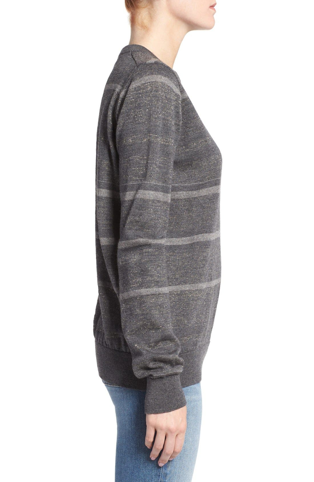 Alternate Image 3  - M.i.h. Jeans 'Falls' Metallic Stripe Merino Wool Sweater