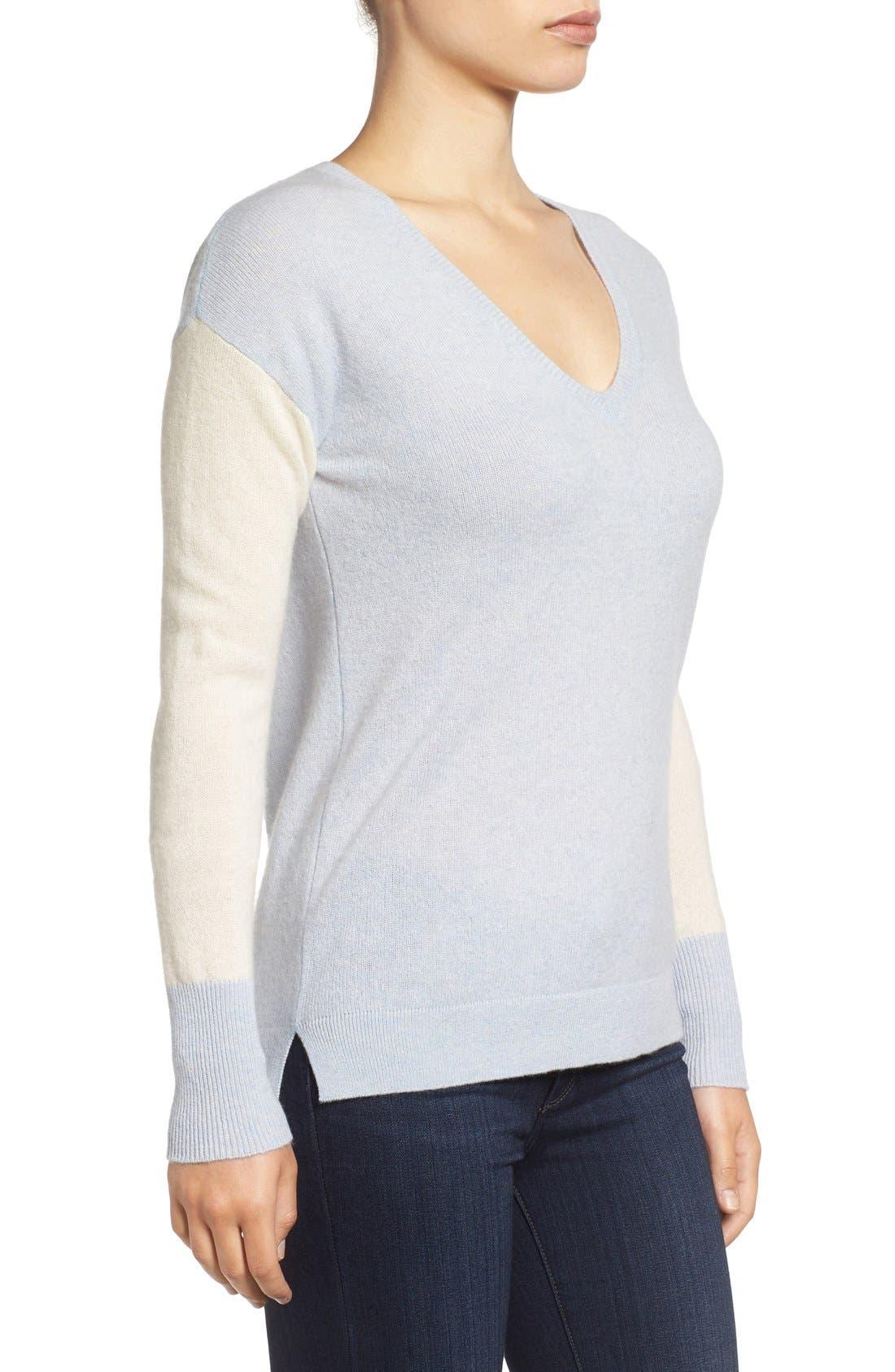 Alternate Image 3  - Halogen® Cashmere V-Neck Sweater (Regular & Petite)