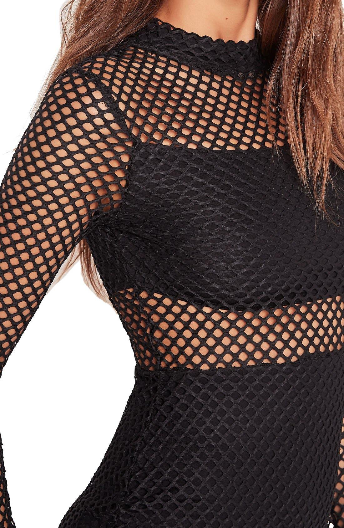 Alternate Image 4  - Missguided Fishnet Minidress