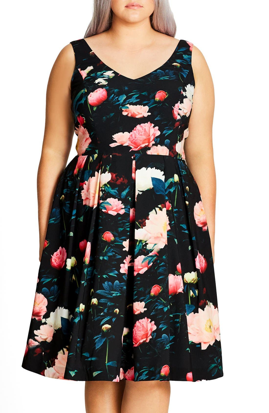 CITY CHIC 'Delight' Floral V-Neck Fit & Flare