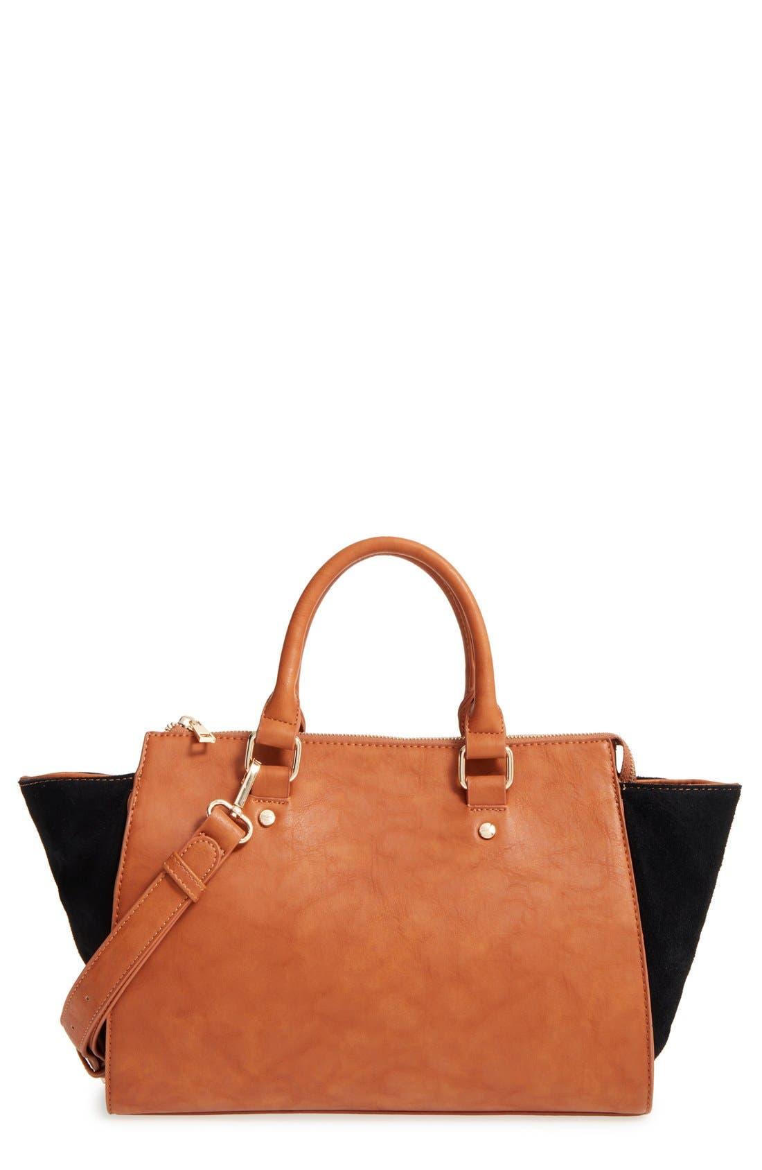 Main Image - Sole Society 'Bridgette' Winged Faux Leather & Faux Suede Satchel