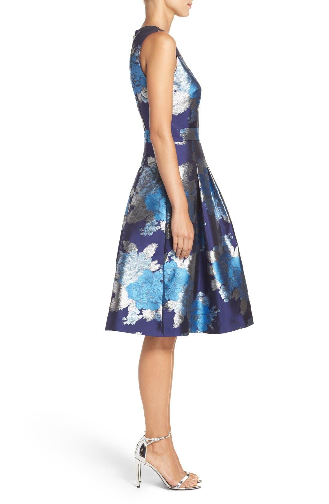 Alternate Image 3  - Eliza J Metallic Jacquard Fit & Flare Dress (Regular & Petite)