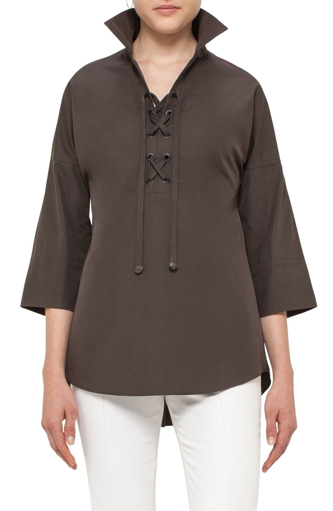 AKRIS PUNTO Lace-Up Cotton Tunic