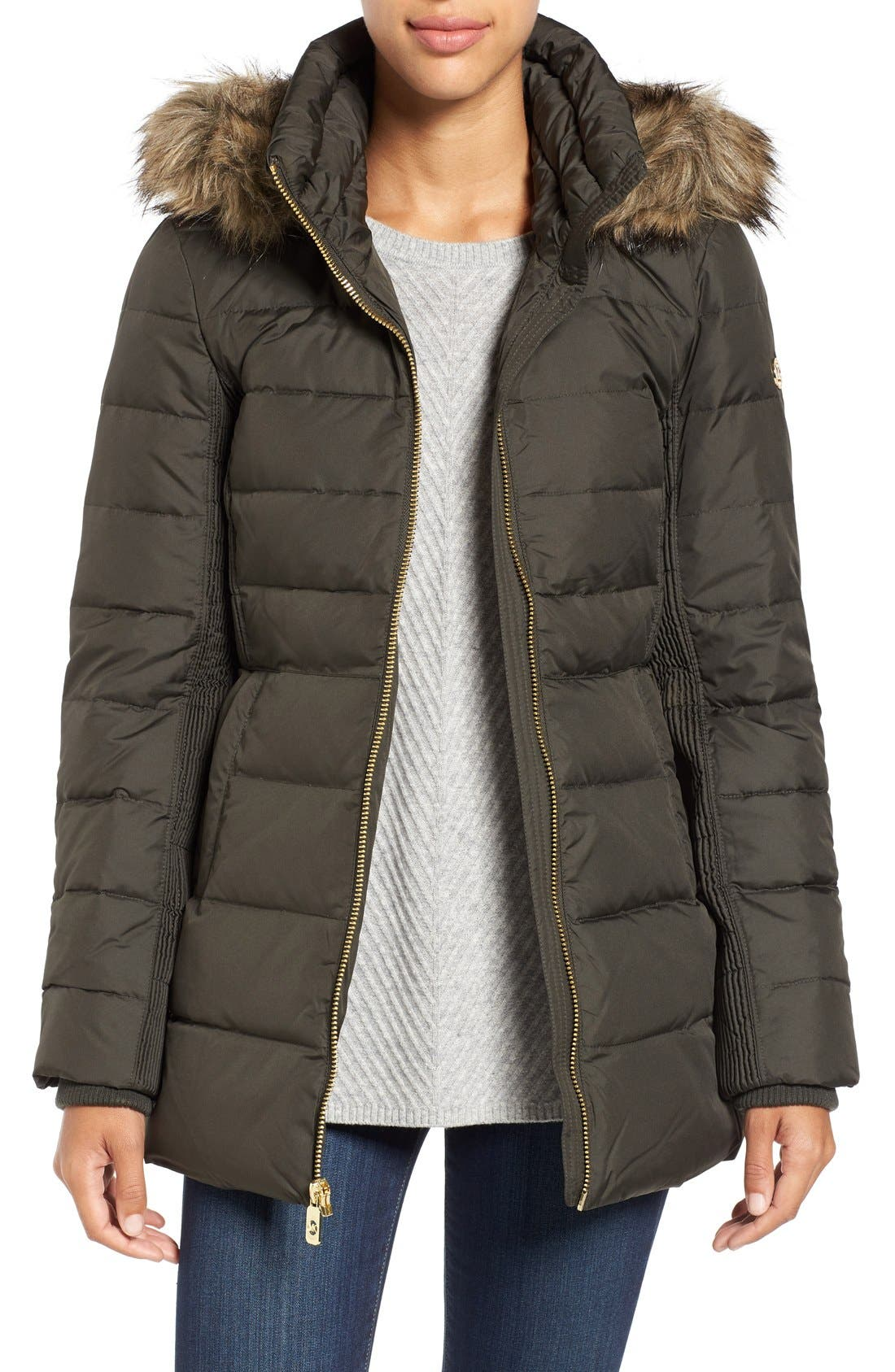 Alternate Image 1 Selected - MICHAEL Michael Kors Hooded Down & Feather Fill Coat with Faux Fur Trim