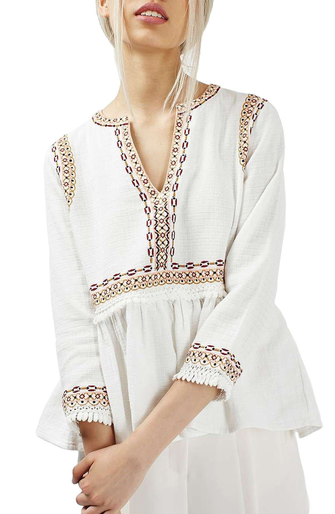 Main Image - Topshop Embroidered Peplum Peasant Blouse