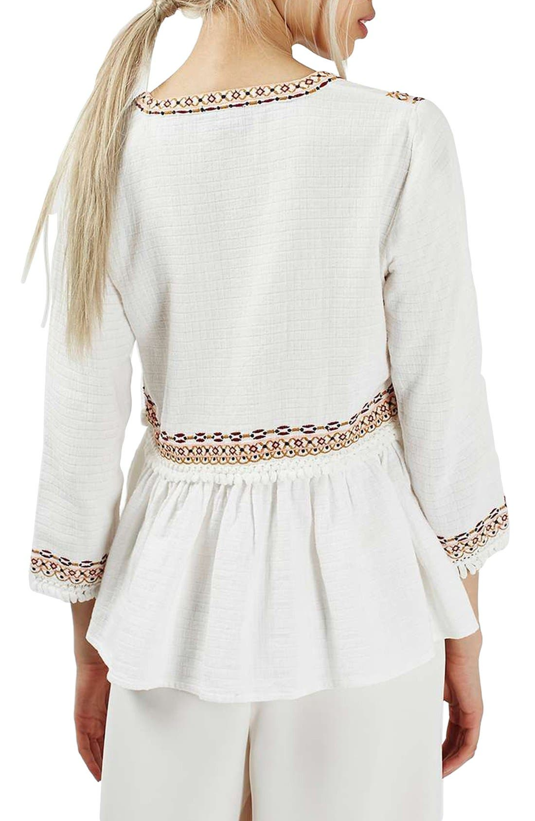 Alternate Image 3  - Topshop Embroidered Peplum Peasant Blouse