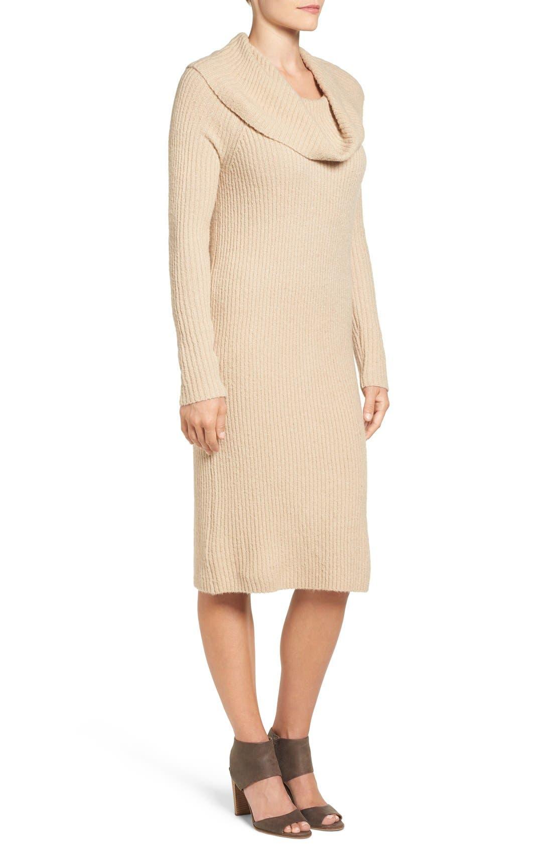 Alternate Image 4  - Halogen® Cowl Neck Sweater Dress (Regular & Petite)
