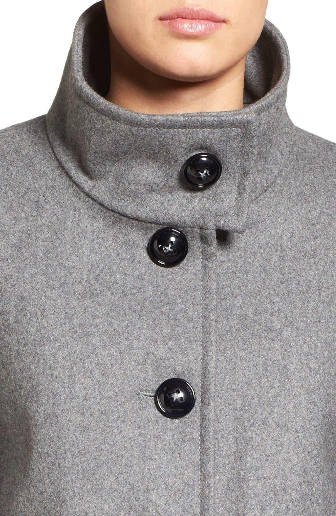 Alternate Image 4  - Larry Levine Wool Blend Swing Coat