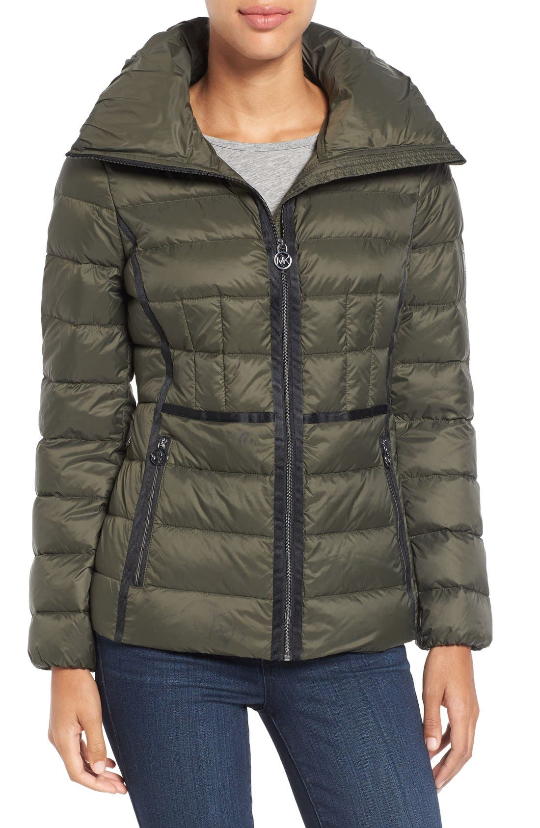 Alternate Image 1 Selected - MICHAEL Michael Kors Packable Down Zip Front Jacket (Regular & Petite)