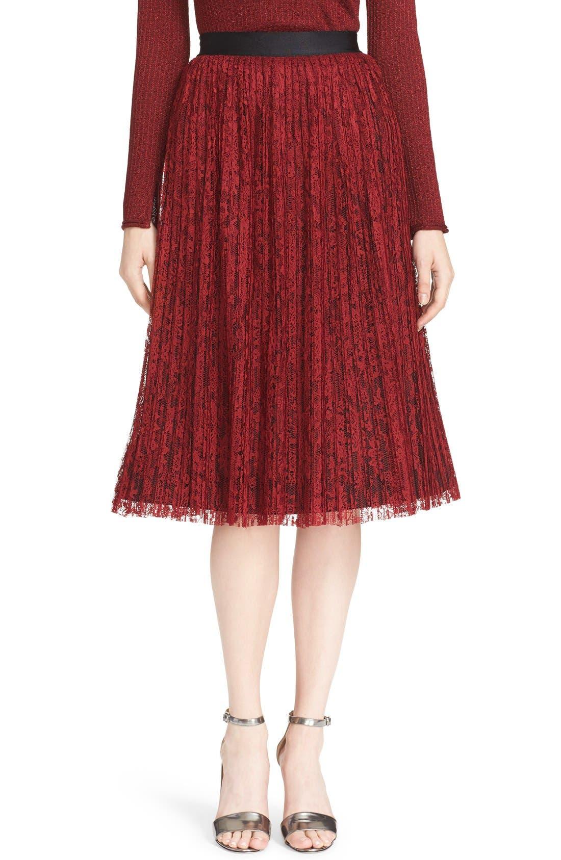 Main Image - Alice + Olivia 'Mikaela' Pleat Lace Midi Skirt